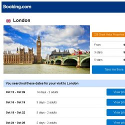 [Booking.com] Deals in London from S$ 128