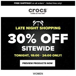 [Crocs Singapore] 【TONIGHT ONLY】30% off Sitewide!