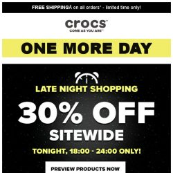 [Crocs Singapore] 【EXTENDED】 30% off Sitewide tonight!