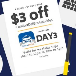 ComfortDelGro: Promo Code for $3 OFF Taxi Fare from 10am to 12pm & 2pm to 5pm
