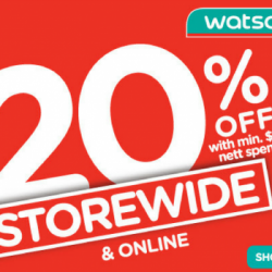 Watsons: 3-Day Sale Storewide 20% OFF with Minimum $38 Nett Spend + Members Get $5 Coupon!