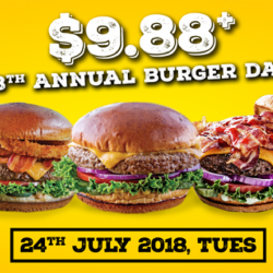 Chili's: 8th Annual Burger Day Promo - Juicy Gourmet Burger at only $9.88+ with No Service Charge on 24 July 2018!