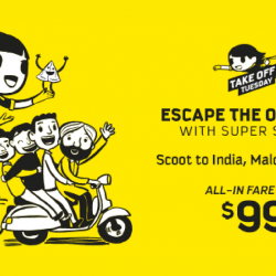 Scoot: Take Off Tuesday Sale to India or Maldives from only $99!