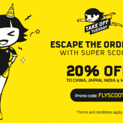 Scoot: Take Off Tuesday with 20% OFF Economy Fares to Guangzhou, Hong Kong, Phuket, Taipei, Tokyo & More