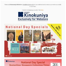 [Books Kinokuniya] 🎉Celebrate 53 years of nation building with up to 20% off National Day specials, exclusively on Kinokuniya Webstore Singapore!