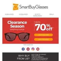 [SmartBuyGlasses] Best time of the year: clearance season is here! Deep discounts for up to 70% off