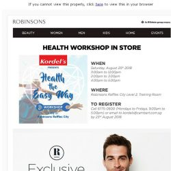 [Robinsons]  Visit the Kordel's Health Workshop at Robinsons!