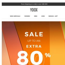 [Yoox] S-A-L-E: starting today an EXTRA 80% OFF