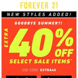 [FOREVER 21] EXTRA 40% OFF SALE (+ New styles added!)