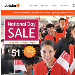 [Jetstar] 🎉 National Day Sale starts now! Book your year-end holiday today.