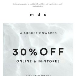[MDS] WELCOME AUGUST! | Sale 30% OFF Selected Items