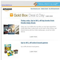 [Amazon] Today only: Up to 80% off top books from Kindle...