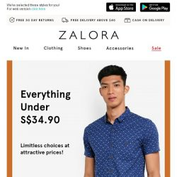 [Zalora] All Under S$34.90! Pick them up now!