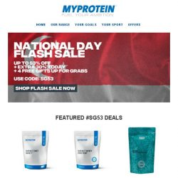 [MyProtein] National Day Flash Sale Starts Now!