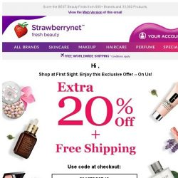[StrawberryNet] , Extra 20% Off + Free Shipping Just For You!