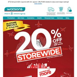 [Watsons] 📢WE HEARD U! 4-DAY STOREWIDE 20% OFF SALE IS BACK  from 9 - 12 Aug ONLY! More deals on ONLINE 88 SHOPATHON!