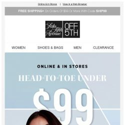 [Saks OFF 5th] LOW INVENTORY alert for your Repetto item! + Under $99 from head to toe: outfit help is here!
