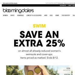 [Bloomingdales] Save an extra 25% on swimsuits & cover-ups