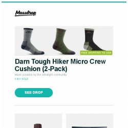 [Massdrop] Darn Tough Hiker Micro Crew Cushion (2-Pack), Junkers Bauhaus Power Reserve 6060 Automatic Watch, Viotek 32-Inch WQHD 144Hz 1440p Curved Monitor and more...