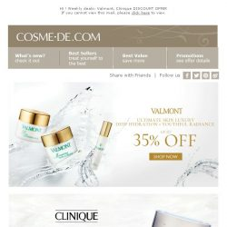 [COSME-DE.com] 📣 Weekly deals:  Valmont, Clinique DISCOUNT OFFER 📣