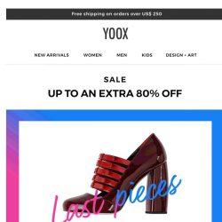 [Yoox] These are the last pieces and they're on SALE with up to an EXTRA 80% OFF
