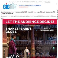 [SISTIC] Opening Soon! Book Now for SHAKESPEARE'S GLOBE! Which Show Will You See?