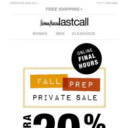 [Last Call] Bargain, Final hours for VIP savings: extra 10% on top of 20% off fall arrivals
