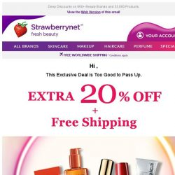 [StrawberryNet] , Extra 20% Off is TOO GOOD to pass up!