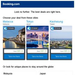 [Booking.com] Malacca, Tokyo, or Kaohsiung? Get great deals, wherever you want to go