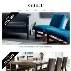 [Gilt] Extra 20% Off The Seating Event: Sofas & Sectionals   Dining & Accent Seating   Outdoor Seating   Ottomans & Benches
