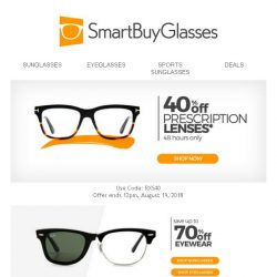 [SmartBuyGlasses] Save up big time by enjoying a whopping 40% off prescription lenses!