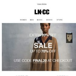 [LN-CC] REMINDER: Sale up to 70% off + Extra 20% off
