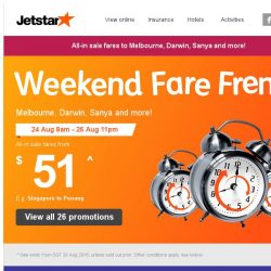 [Jetstar] 🕗 Year-end getaways to Melbourne, Darwin and more! Weekend Fare Frenzy starts now.