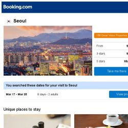 [Booking.com] Deals in Seoul from S$ 293