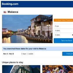 [Booking.com] Deals in Malacca from S$ 37
