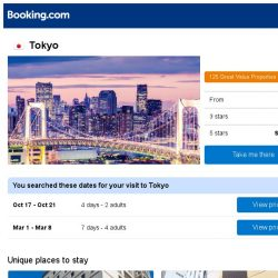 [Booking.com] Deals in Tokyo from S$ 69