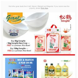 [Giant] 🏃Hurry! Get your FREE Luminarc Rice Bowl 🍚 from SongHe! ⚠️ Don't MISS it!