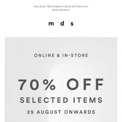 [MDS] 70% OFF!   Selected Items Now On Sale