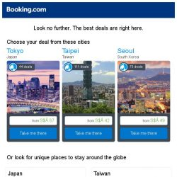 [Booking.com] Tokyo, Taipei, or Seoul? Get great deals, wherever you want to go
