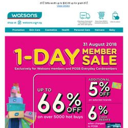 [Watsons] 😎Members' ONLY 1Day Sale on 31 Aug w Deals  up to 66% OFF + 6% POSB Every Day Card Rebate! 😎