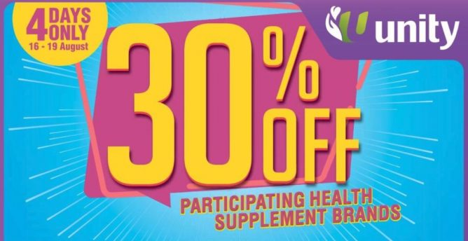 Unity Pharmacy: Enjoy 30% OFF Health Supplements from 21st