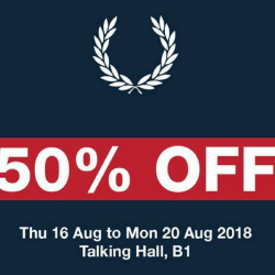 Fred Perry: Enjoy 50% OFF + Additional 25% OFF Total Bill with Purchase of 3 Pieces & More at Takashimaya Talking Hall!