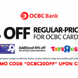 "Toys""R""Us: Get 20% OFF Regular-Priced Items with OCBC Cards + Additional 10% OFF for Star Card Members"