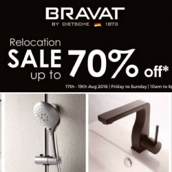 BRAVAT: Relocation Sale with Up to 70% OFF Bathroom Wares & Fittings