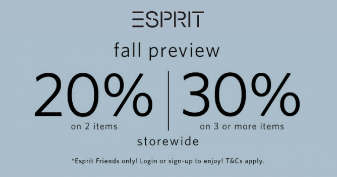48b3f0133dac Esprit  Fall Preview Sale with Up to 30% OFF In Stores   Online Till ...