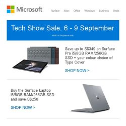 [Microsoft Store] Tech Show Sale: ends 9 September