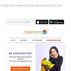 [Floweradvisor] This Weekend, BE UNEXPECTED! Spoil Her With Love She Deserves