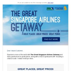 [Singapore Airlines] From SGD148, take off with the Great Singapore Airlines Getaway