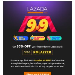 [Redmart] 😱SUPER savings with Lazada's 9.9 SALE + Exclusive coupons within!