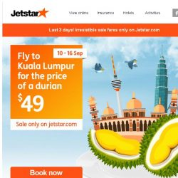 [Jetstar] ✈ Last 3 days! Don't miss out on irresistible sale fares only on Jetstar.com